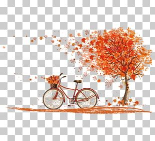 Bicycle Autumn Leaf Color Cycling PNG