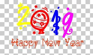 Happy New Year Thin Text Transparent . PNG