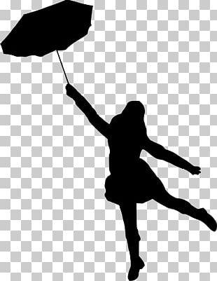 Silhouette Woman Umbrella PNG