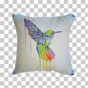 Hummingbird Watercolor Painting Throw Pillows Cushion Barranca Chica PNG