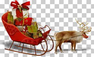 Santa Claus Reindeer Père Noël Christmas Day Sled PNG