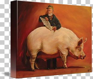 Pig Oil Painting Canvas Print PNG