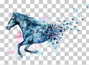 Little Blue Horse Watercolor Painting Drawing PNG
