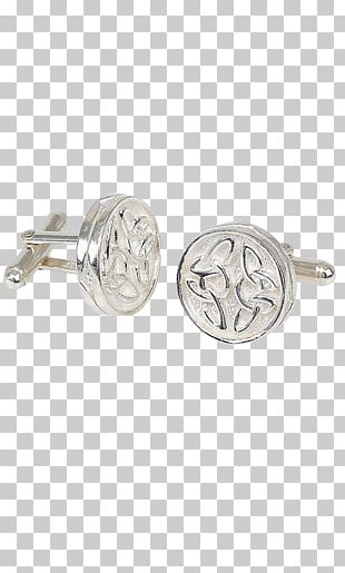 Earring Cufflink Silver Celtic Knot Pewter PNG