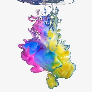 Colorful Water Heavy Ink PNG