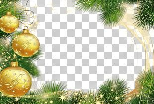 Christmas Frame Golden Balls PNG