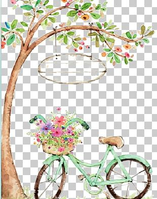 Watercolor Painting Bicycle Drawing PNG