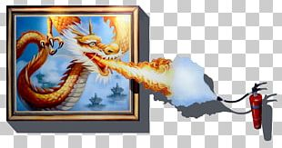 3D Wall Painted Dragon PNG