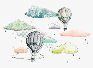 Hand-painted Hot-air Balloon PNG