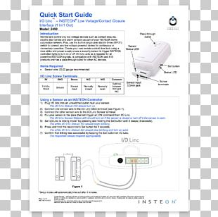Insteon Electrical Switches Sensor Home Automation Kits Quickstart Guide PNG