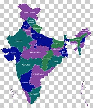 States And Territories Of India Blank Map PNG