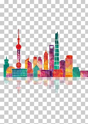 Shanghai Skyline Building Illustration PNG