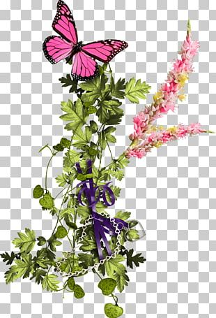 Butterfly Birthday Cake Floral Design Cut Flowers Purple PNG