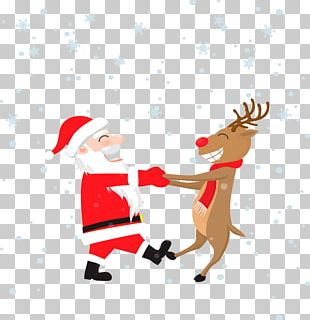 Rudolph Santa Claus Wedding Invitation Christmas Greeting Card PNG