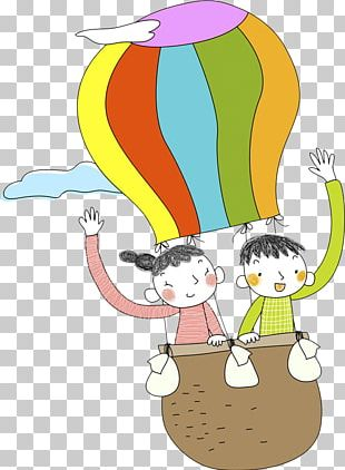 Hot Air Balloon Girl Illustration PNG