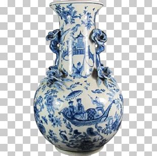 Vase Blue And White Pottery Ceramic Cobalt Blue Jug PNG