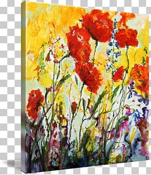 Floral Design Watercolor Painting Art Canvas Print PNG