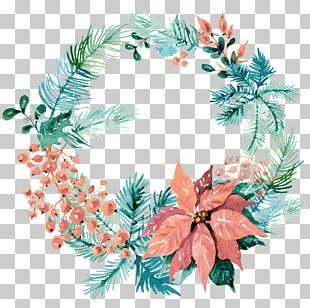 Wreath Wedding Invitation Christmas Ornament Watercolor Painting PNG
