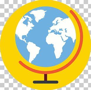 World Map Globe Flat Design PNG