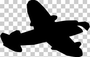 Silhouette Airplane Black And White PNG
