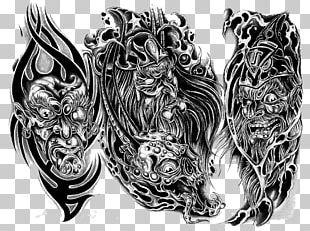 Tattoo Artist Drawing Flash Sleeve Tattoo PNG