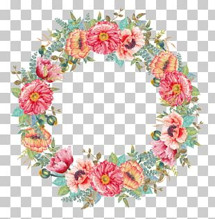 Flower Wreath Watercolor Painting PNG