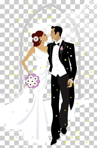 Sweet Bride And Groom Wedding Illustration PNG