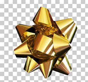 Gold Ribbon Christmas Metal PNG