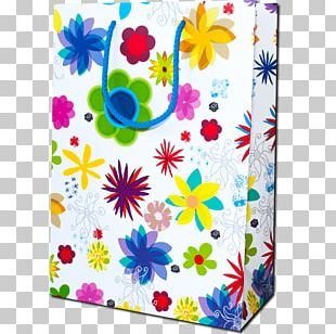 Paper Cut Flowers Gift Bag PNG