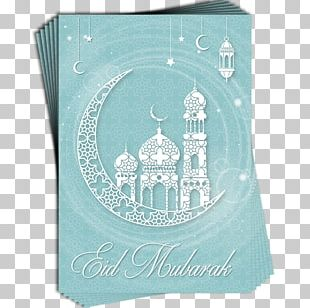 Turquoise Blue Teal Eid Al-Fitr Greeting & Note Cards PNG