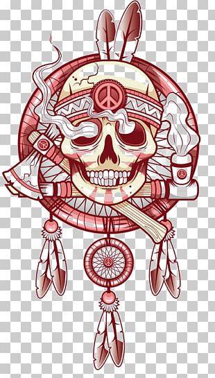 T-shirt Skull Tattoo Dreamcatcher Skeleton PNG