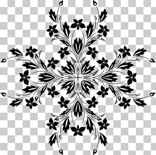 Black And White Flower Vine PNG
