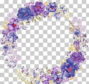 Flower Purple Watercolor Painting Wreath PNG