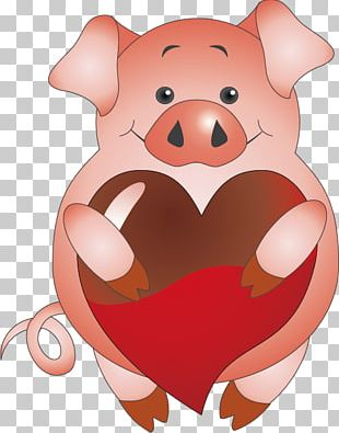 Domestic Pig Valentines Day Paper Scrapbooking PNG