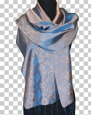 Turquoise Neck SPECIAL SALE!!! Fandori Silk Scarf With Contrasting Color PNG
