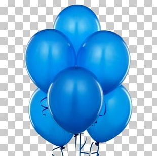 Gas Balloon Blue Birthday Party PNG
