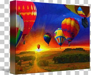 Hot Air Balloon Painting Art Canvas Print PNG