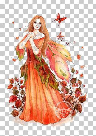 Autumn Fairy Illustration PNG