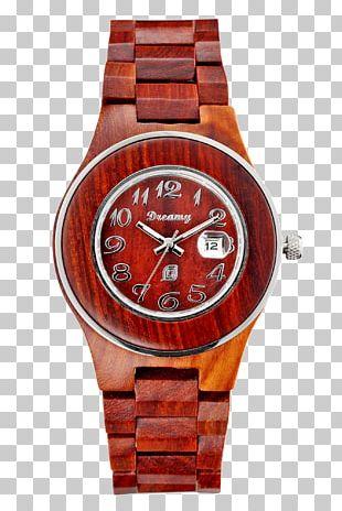 Watch Strap Wood Quartz Clock PNG