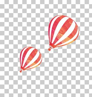 Flight Hot Air Balloon Watercolor Painting PNG