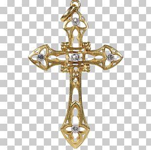 Crucifix Art Nouveau Gold Jewellery PNG