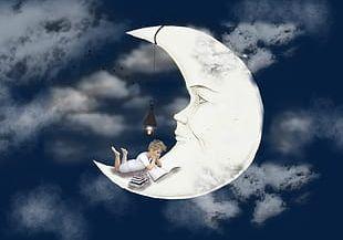 Boy Sleeping On The Moon PNG