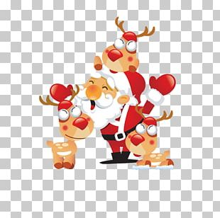 Reindeer Santa Claus Christmas Day Child Greeting & Note Cards PNG