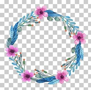 Flower Wreath Watercolor Painting Euclidean Pattern PNG