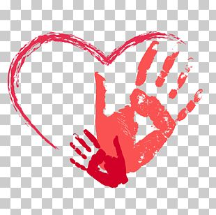Red Heart-shaped Palm Prints PNG