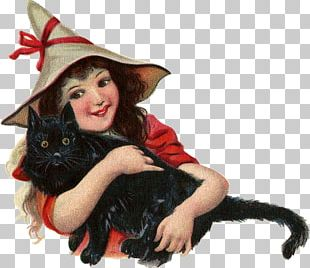 Black Cat Kitten Witch Halloween PNG