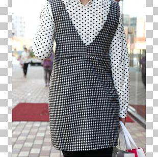 Polka Dot Tartan Sleeve Dress Formal Wear PNG