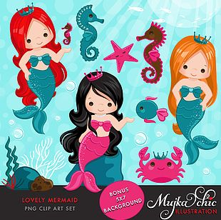 Mermaid Under The Sea PNG