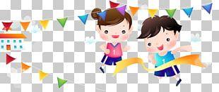 Schoolyard Sports Day Cartoon Illustration PNG
