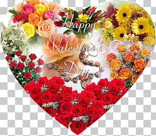 Valentine's Day Flower Bouquet Heart Gift PNG